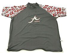 ALOHA Rash Guard Shirt Size Extra Large Gray Red Short Sleeve Mock SunProtection