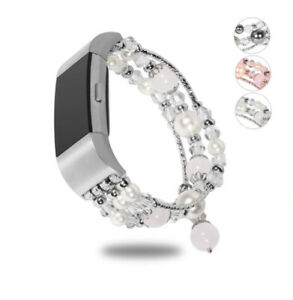 for Fitbit Charge 2 Jewelry Pearl Beaded Strap Elastic Watch Band Bracelet