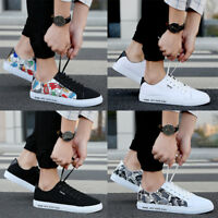 Mens Flat Plimsolls Lace Up Pumps Boys Casual Canvas Trainers Shoes Size 6-10