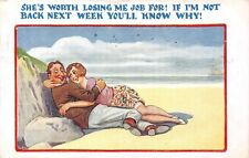 POSTCARD  COMIC     Seaside    Courting  Couple  Losing  Job