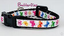 "Butterflies cat or small dog collar 1/2"" wide adjustable handmade bell leash"