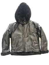 NWT WOMEN'S OSCAR PIEL BLACK HOODED GENUINE LEATHER FAUX FUR JACKET SIZE: S,L,2X