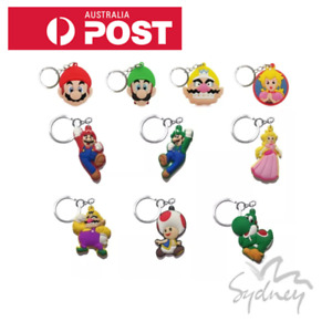 ☆ Kids Schoolbag Bag Tag Rubber Keychain Super Mario Luigi Yoshi Princess Peach☆
