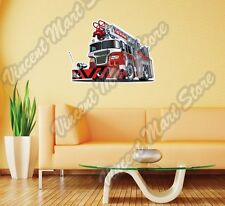 "Firefighter Truck Fire Rescue Team Wall Sticker Room Interior Decor 25""X20"""