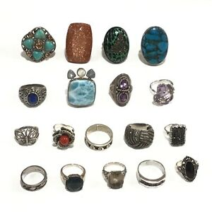 Lot of 18 Sterling Silver Gemstone Rings Sizes 11, 10.5, 10, 9, 8, 7.5, 7, 6, 5