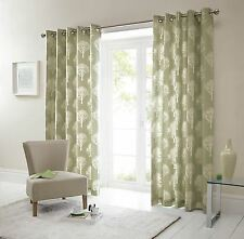 FOREST TREES GREEN CREAM 90X72 RING TOP LINED CURTAINS #SEERTDNALDOOW *CUR*