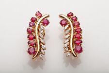 Estate $7000 8ct Natural Ruby Marquis VS G Diamond 14k Gold Earrings NICE!!!!