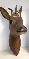 Antique German wood carved deer head black forest hunting cabin deco