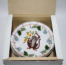 Lynn Chase NIB Monkey Business Glass Dessert Plates Rare