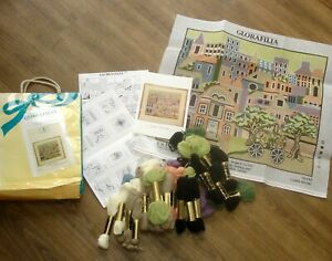 1986 Glorafilia Cross Stitch Tapestry Kit Town Scene GL256 Opened Unused