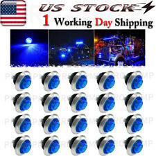 "20x Mini 3/4"" Blue Lens Led Clearance Marker Bullet Lights w/316Ss Trim Ring"