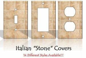"Italian ""Stone"" Tiles Light Switch Covers Home Decor - MADE FROM PLASTIC"
