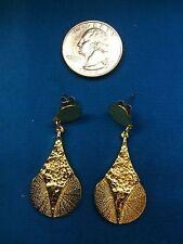 gold plated pewter '1960 modernist brutalist dangle earrings signed Darveau