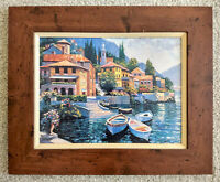 "BEHRENS VILLAGE - ""LAKE COMO LANDING"" BY HOWARD BEHRENS Signed Art On Canvas"