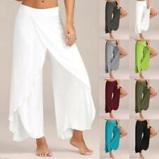 71078bb94cd Womens Slit Flared Palazzo Trousers Wide Leg High Loose Chiffon Harem Yoga  Pants