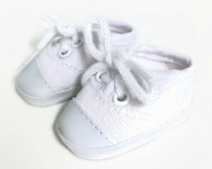 """White Canvas Tennis Shoes for 14.5"""" American Girl Wellie Wishers Wisher Dolls"""