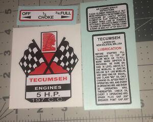 Tecumseh 5 hp decal 197 C.C. H50 Mini Bike Go Kart Crossed Flags New Art Set 4