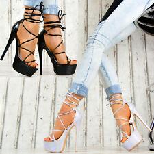 Neu Damen Schuhe Platau Pumps Gladiator High Heels Stilettos SeXy Club 0019