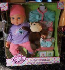 "Rare Dream Collection 12"" Cute Baby Doll W/ Accessories & Plush Monkey Brand New"