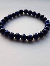 Men's surfer style gemstone stretch bracelet with blue tigers eye