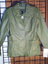 women green leather jacket size10