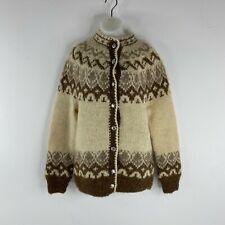 Vtg Womens Cardigan Sweater Mohair Nordic Iceland Chunky Knit Button M