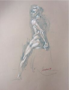 Harry Carmean drawing of seated male model 1990 green pencil