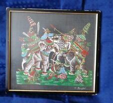 Vintage / Retro Framed Thai Painting On Fabric Elephants Battle Scene O. Bangkok