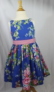 RALPH LAUREN girls 6 BLUE FLORAL dress with STRIPED belt GORGEOUS!!