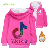 Kids Girls boys TikTok Hooded Jacket Winter Warm Coat Zip Outerwear double layer