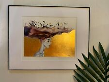 Original Gold Leaf Watercolor Painting Hat  Women On Paper, Signed By Artist