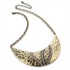 "Gorgeous 16"" Antique-look  gold tone & diamante collar / choker necklace   /4661"