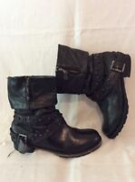 Next Black Mid Calf Leather Boots Size 8