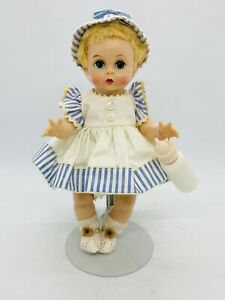 "Vtg Madame Alexander Little Genius Doll 8"" Tagged Stripe Bonnet Hat Dress Bottle"