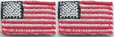 """5/8"""" x 1"""" Lot of 2 Tiny United States American Flag Tab Embroidered Patch"""
