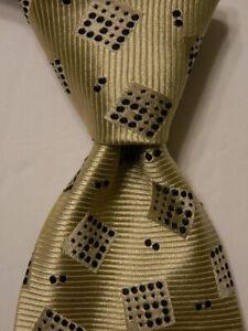 ERMENEGILDO ZEGNA Couture Silk Necktie ITALY Luxury Geometric Ivory/Blue EUC