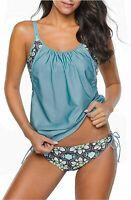 Zando Womens Stripes Sporty Double Up Two Piece Tankini Swimsuit, Blue, Size 8.0