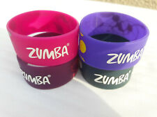(4) Zumba BRACELETS Wide Pink Purple Burgundy Rubber Gently Used Fashion