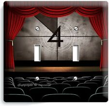 TV ROOM HOME MOVIE THEATER BIG SCREEN DOUBLE LIGHT SWITCH WALL PLATE COVER DECOR