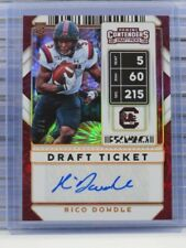 2020 Contenders Draft Picks Rico Dowdle Touchdown Draft Ticket RC Auto #1/6 D51
