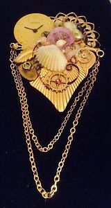 "Handmade Steampunk Pin Artist Signed Dated ""JJ 1996"" Watch Parts Seashells"