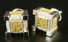 Ice Cube Block Mens Canary Diamond Stud Earrings 9 Mm