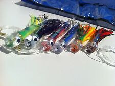 SET of 6 Pusher style Marlin / Tuna Trolling Lures. Rigged and bag included tuna