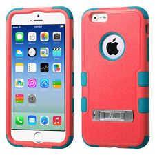 For Apple iPhone 6 / 6s Rubber IMPACT TUFF HYBRID KICK STAND Case Phone Cover