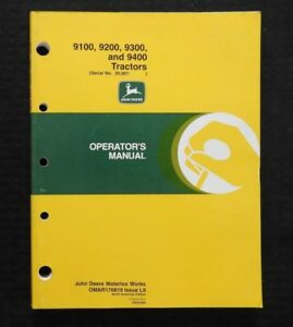 2000 JOHN DEERE 9100 9200 9300 9400 TRACTOR OPERATORS MANUAL SERIAL #30,001 & UP