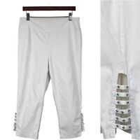 JOSEPH RIBKOFF-- Womens Size 14 White Stretch Pull On Cropped Pants Embellished
