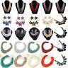Women Crystal Tassel Choker Pendant Chunky Statement Chain Bib Necklace Jewelry