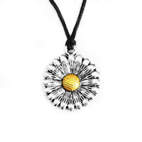 Sunflower Daisy Pendant Necklace Choker Charm with Black Cord