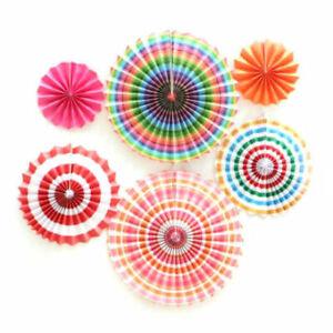 6/12/21x Hanging Paper Fans/Pom Poms Coloured Set Party Decorations Wall Decor