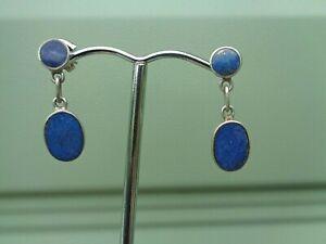 Vintage Stg. Silver & Lapis Lazuli Drop Earrings c.1970s hooks for pierced ears